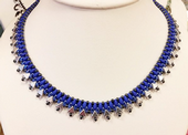 Egyptian Collar - Beadwork Necklace Kit with Kheops Par Puca and SuperDuo Beads (Neon Blue/Silver)